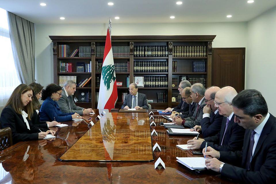 Le coordinateur spécial de l'ONU pour le Liban, avec le Président de la République, le Général Michel Aoun, le 7 janvier 2019. Crédit Photo: Dalati & Nohra