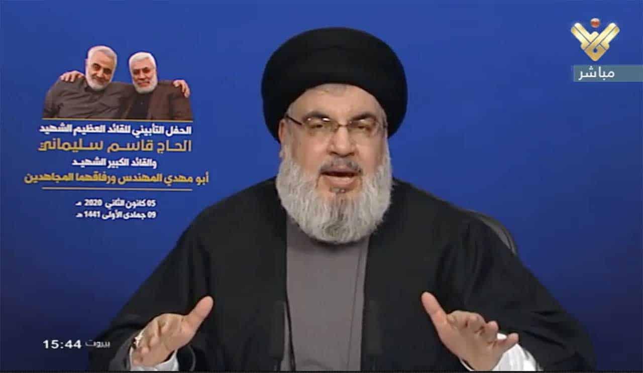 Capture d'écran du dirigeant du Hezbollah, Sayyed Hassan Nasrallah, lors de son discours du 5 janvier 2020.