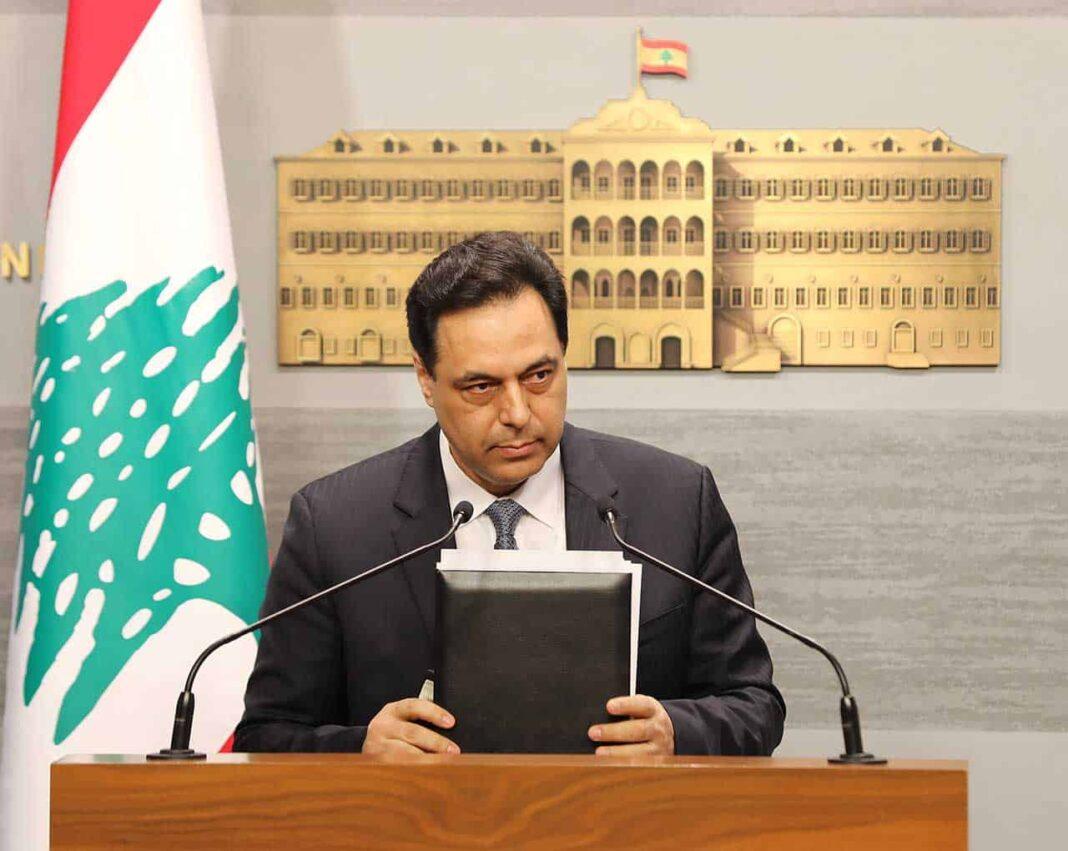 Le Premier Ministre libanais Hassan Diab, annonçant la mise en état de défaut du Liban. Crédit Photo: Dalati & Nohra, 8 mars 2020