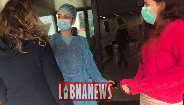 Contrôle à l'entrée d'un hôpital de Beyrouth suite à l'épidémie de coronavirus COVID-19. Crédit Photo: Libnanews.com. Tous droits réservés.