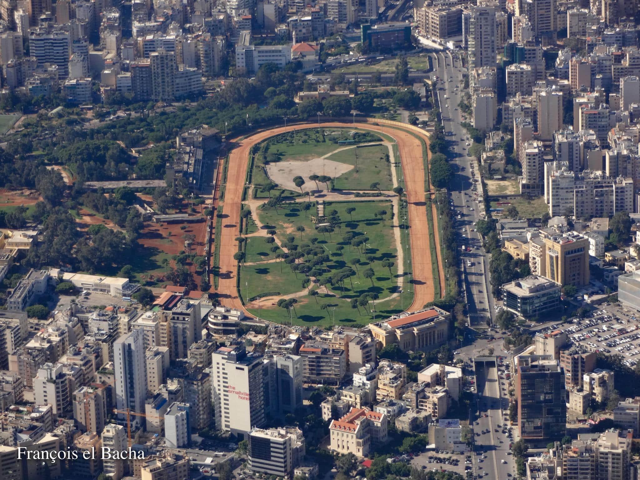 Vue aérienne de l'hippodrome de Beyrouth. Crédit Photo: Francois el Bacha pour Libnanews.com. Tous droits réservés.