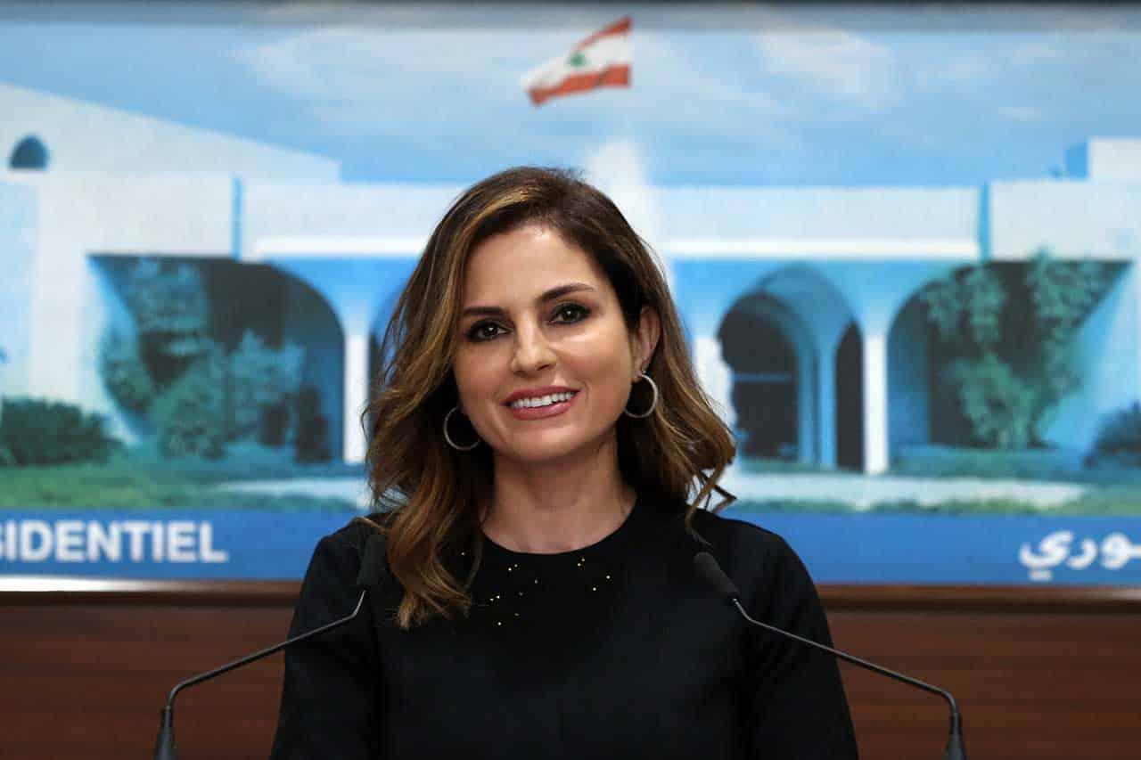 La Porte-Parole du gouvernement Hassan Diab, Manal Abdel Samad, lors de la conférence de presse à l'issue du conseil des ministres du 5 mai. Crédit Photo: Dalati & Nohra