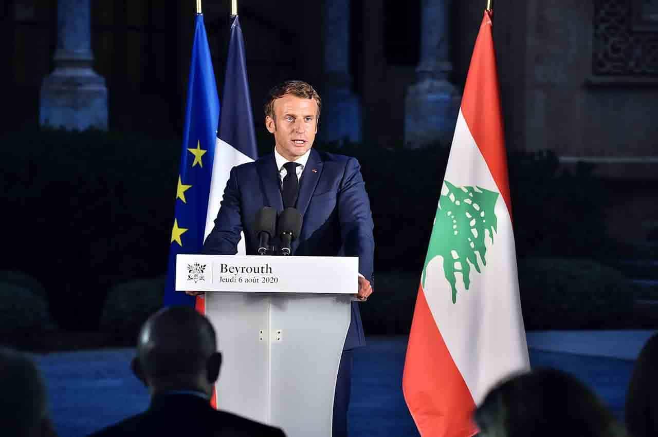 Emmanuel Macron depuis la Résidence des Pins, le 6 août 2020. Crédit Photo: Dalati & Nohra