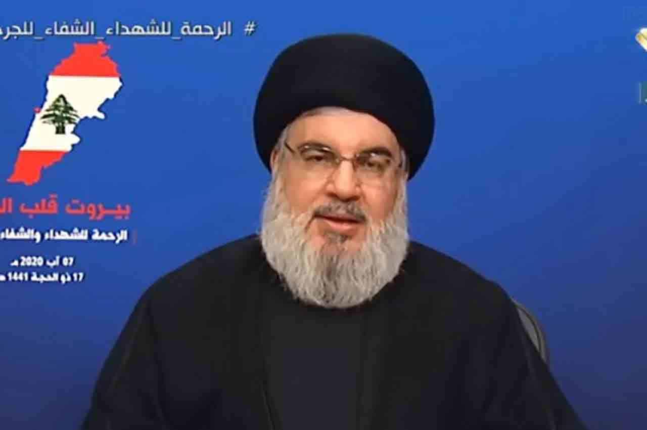 Le dirigeant du Hezbollah, Sayyed Hassan Nasrallah au cours de son allocution du 7 août 2020, 3 jours après l'explosion du Port de Beyrouth