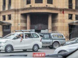 Le siège de l'Association des Banques du Liban après l'explosion du Port de Beyrouth. Crédit Photo: Libnanews.com