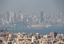 Le port de Beyrouth vu de loin le 6 août 2020 après l'explosion du port de Beyrouth. Crédit Photo: Francois el Bacha pour Libnanews.com