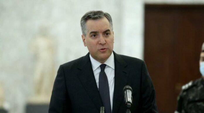 Le nouveau Premier Ministre du Liban Mustapha Adib s'exprimant depuis le perron du Palais de Baabda suite à sa nomination, le 31 août 2020. Crédit Photo: NNA