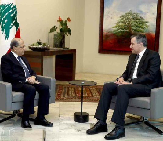 Le Président de la République, le Général Michel Aoun en compagnie du premier ministre désigné Mustapha Adib. Crédit Photo: Dalati & Nohra