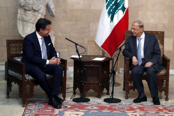 Le premier ministre italien Giuseppe Conte et le Président de la république, le Général Michel Aoun. Crédit Photo: Dalati & Nohra