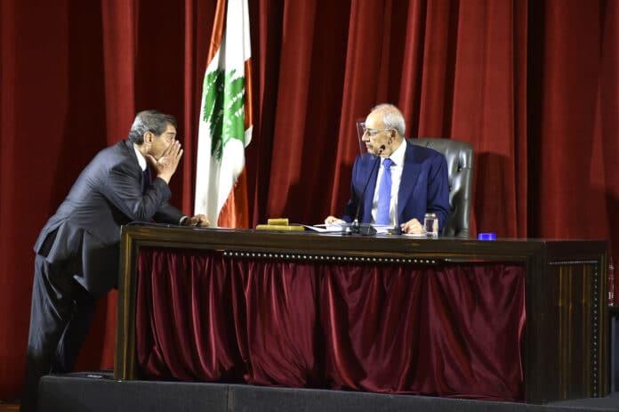 Le Président de la Chambre Nabih Berri et le Vice Président de la chambre Elie Ferzli. Crédit Photo: Parlement Libanais