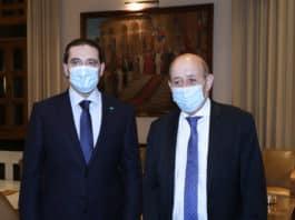 Dalati Saad Hariri Jean Yves le Drian 6 mai.jpg